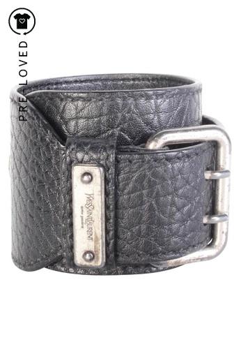 Yves Saint Laurent black Pre-Loved yves saint laurent Leather Wrap Around Cuff 4511DAC5DC5C78GS_1
