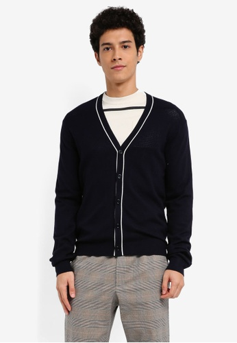 MANGO Man blue Contrast Trims Cardigan 93150AAA125AABGS_1
