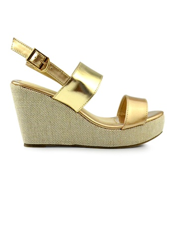 SHINE gold Double Strap Mid Wedges DAA1DSH59037A9GS_1