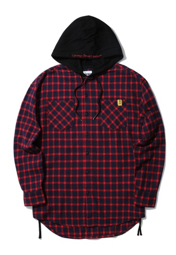 izzue red Hooded check flannel ADD70AAB4ECD69GS_1