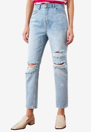 Trendyol blue High Waist Ripped Jeans 4A066AA2624D7FGS_1