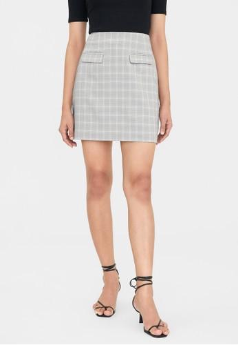 Pomelo grey Plaid Twin Pocket A Line Skirt - Dark Grey BB0FCAACCF57A7GS_1