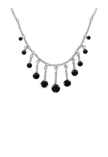 Glamorousky silver Graceful Tassel Necklace with Black and Silver Austrian Element Crystals 7030BAC967C261GS_1