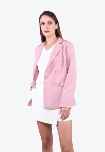 Elle pink Contrast Cuff Double Breasted Coat - L.Pink EB4C2AA4A31DD4GS_1