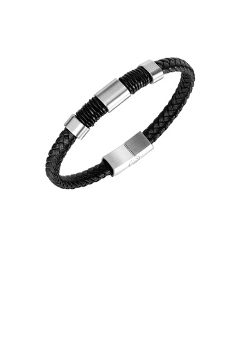 Glamorousky silver Simple Personality 316L Stainless Steel Geometric Square Leather Bracelet B3305ACE49E108GS_1