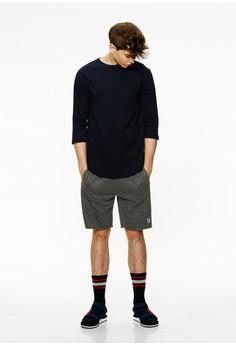 【ZALORA】 Casual 簡約刺繡 棉質抽繩短褲-02425-灰色