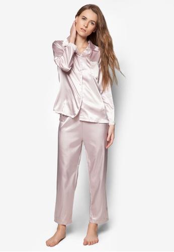 Buy Impression Satin Shirt and Pants Set Online on ZALORA Singapore 9647b8047
