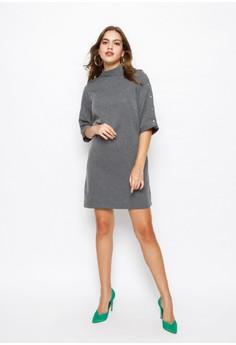 d9c798cba9eb0 Minimal Polo Neck Dress W/ Snaps Button Grey Black Rp 399.900. Ukuran S M L  XL