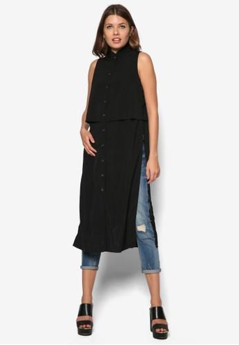 層疊超長版無袖上衣, 服飾, 服zalora 折扣碼飾