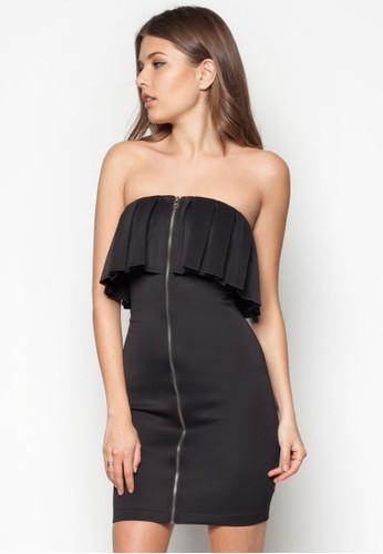 褶飾荷葉邊拉鍊抹胸洋裝, 服飾,zalora taiwan 時尚購物網鞋子 派對洋裝