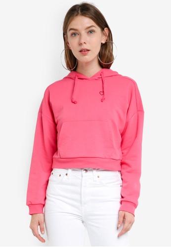 TOPSHOP pink Petite Heart Hoodie 7A993AA22ED63DGS_1