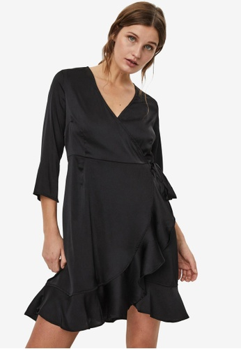 Vero Moda black Henna Satin 3/4 Wrap Dress 54DA8AAE8F963FGS_1