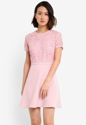 ZALORA pink Lace Panel Fit & Flare Dress 93C6BAA71263BAGS_1