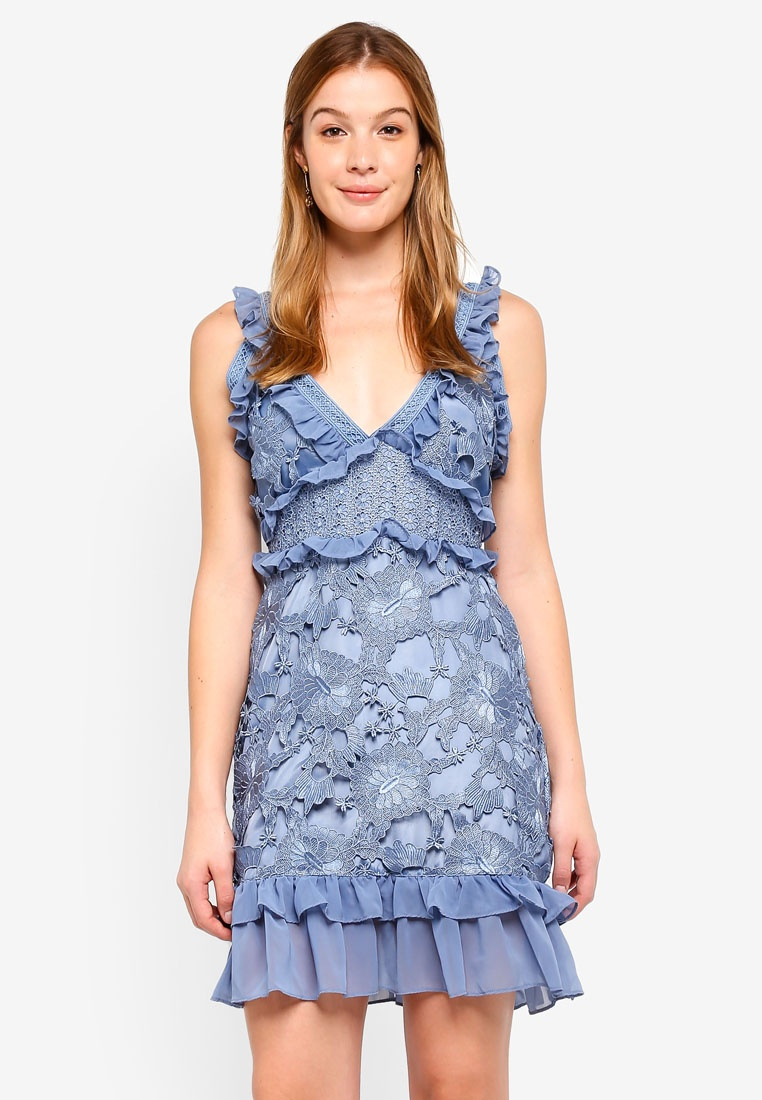 Ruffle Decadence Mini Neck Blue Dusty With Trims Lace Dress V True wHqXFOPpSH