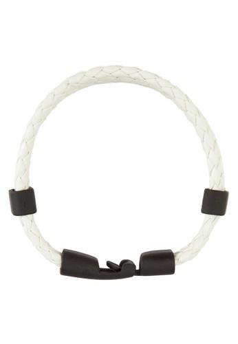 三層撞色編esprit門市織皮革手環, 飾品配件, 手環