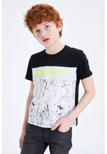 DeFacto black Boy Knitted Short Sleeve T-Shirt EFF39KA9FC1A1CGS_1