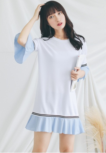 Shopsfashion white and blue Colour Block Shift Dress  SH656AA0GHE3SG_1