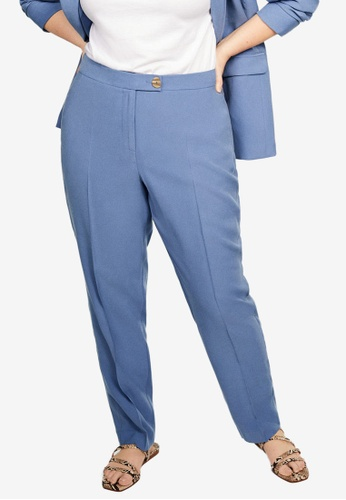 bf02f7556ef Violeta by MANGO purple Plus Size Button Straight-Fit Trousers  03329AA0590484GS 1
