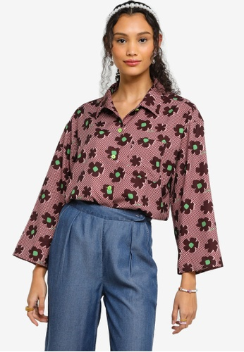 Lubna red and green Printed Wide Sleeve Shirt CA471AAD4A8CEBGS_1