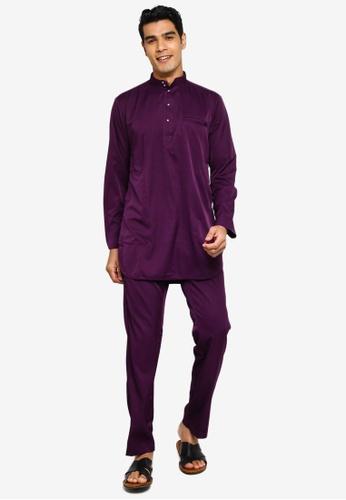 Fidelio purple Jaspar Slim Baju Melayu Modern 9A6D8AA0CD63C5GS_1