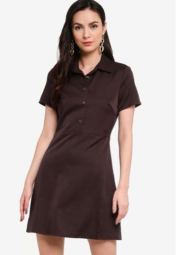 ZALORA WORK brown Half Placket Mini Shirt Dress 8B960AAFCEDED8GS_1