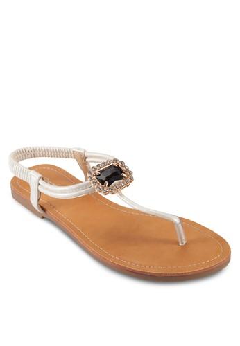 閃鑽寶石彈性繞踝涼鞋,zalora taiwan 時尚購物網 女鞋, 鞋