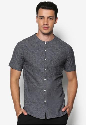 Brushed Cotton Collarless Short Sleesprit sgeve Shirt, 服飾, 襯衫