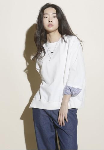 韓系時尚條紋袖口上衣, 服飾esprit tote bag, 上衣