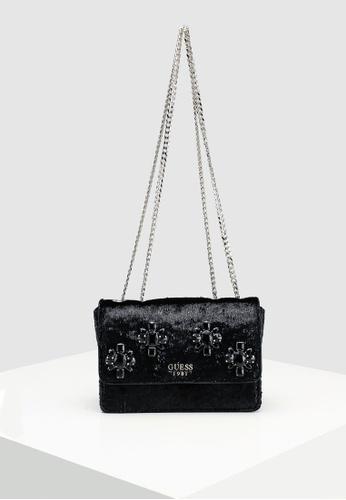6da846f97217a6 Guess black Lynda Crossbody Flap Bag 1A4EAAC606B082GS 1