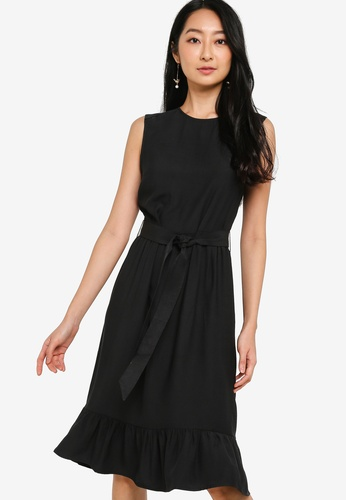 ZALORA BASICS black Ruffle Detail Midi Dress 3118DAA4D6DAC3GS_1