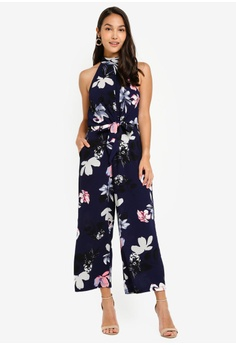 30ef43ffe4e AX Paris navy Floral High Neck Print Jumpsuit With Tie Front  228DFAAF7F26ABGS 1