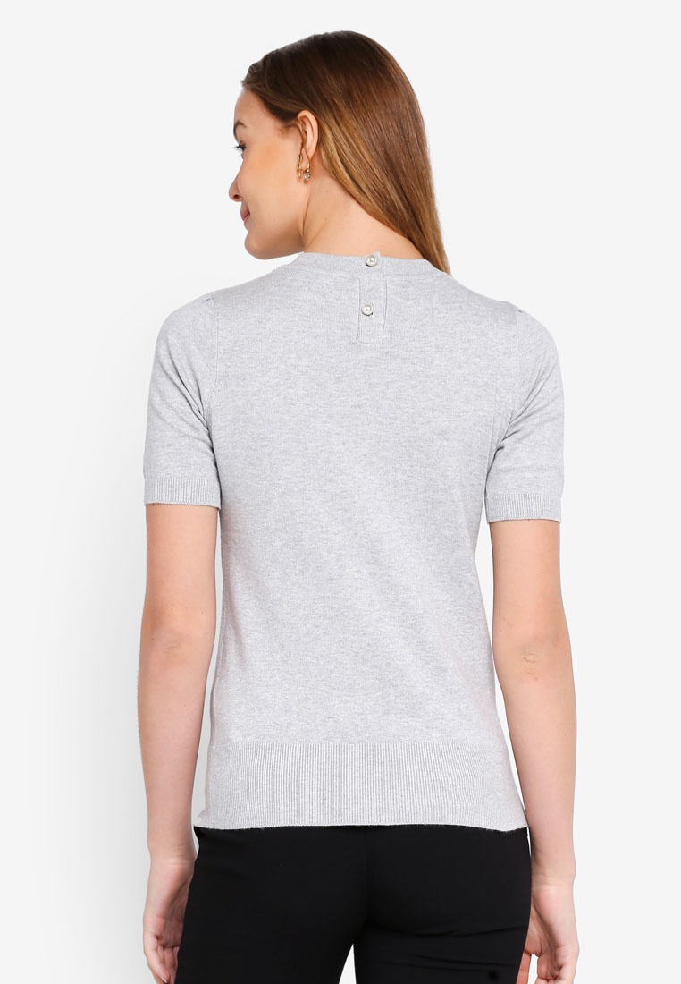 Grey Grey Pearl Tee Dorothy Perkins Button Knitted 6fw5F7q