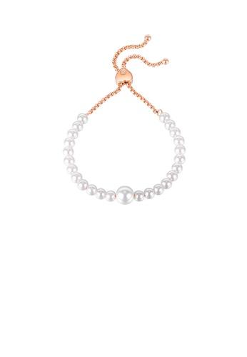 Glamorousky white Fashion and Elegant Plated Rose Gold Imitation Pearl Heart-shaped Adjustable 316L Stainless Steel Bracelet 17116AC11E11EFGS_1