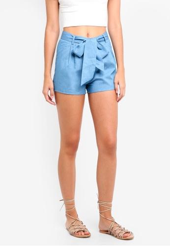 ZALORA blue Tie Waist Shorts 4C3A2AA29F82F8GS_1