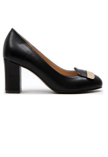 Crystal Korea Fashion 黑色 韓國新款金屬粗跟鞋 4DBE8SHF9C32C8GS_1