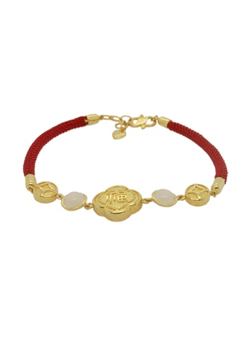 LITZ white and red and gold LITZ 999 (24K) Gold and Jade Fortune Bracelet 9D8FDAC0285F86GS_1