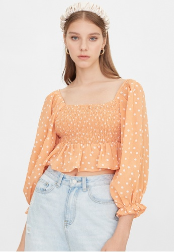 Pomelo orange Polka Dot Ruffle Smock Top - Orange A09E0AA9B89692GS_1