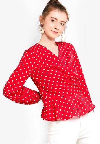 Lubna 紅色 Fix Wrap Top F9769AAEAA9669GS_1