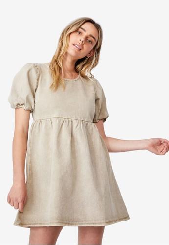 Cotton On beige Denim Open Back Babydoll Mini Dress 87CA6AA1E2136EGS_1