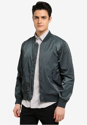 MANGO Man green Pocketed Satin Bomber Jacket 1C564AA35020FBGS_1