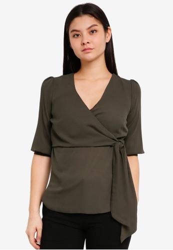 Dorothy Perkins green Khaki Tie Front 0A324AAFD5FCEDGS_1