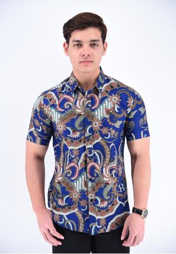 UA BOUTIQUE blue Short Sleeve Shirt Batik RBS05-041 (Blue) D6697AA96B8100GS_1