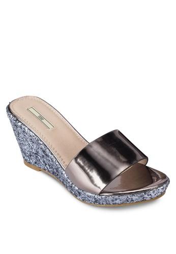 esprit outlet 高雄金屬感寬帶楔型跟涼鞋, 女鞋, 鞋