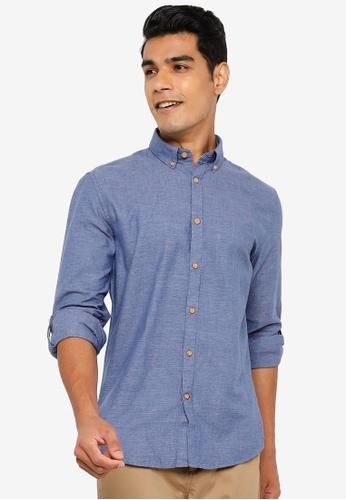 Springfield blue Textured Shirt 35E3EAA49B3E2CGS_1