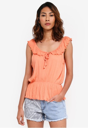 Cotton On orange Lucy Ruffle Strap Top E2FB9AAB7C8828GS_1