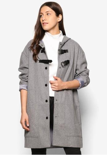 Coll尖沙咀 esprit outletection 仿皮邊飾鈕扣大衣, 服飾, 夾克 & 大衣