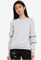 Dorothy Perkins grey Petite Grey Ruffle Sleeved DO816AA0RSOBMY_1