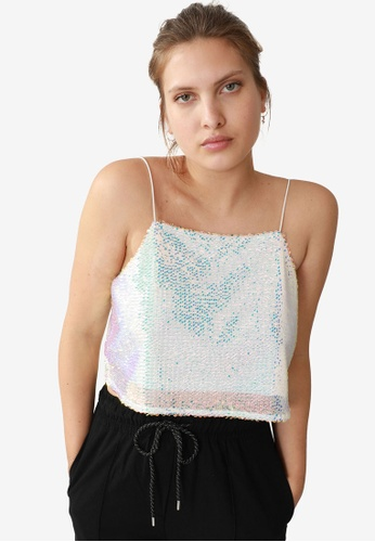 PIMKIE white Sequined Top CFA07AAD7AD621GS_1