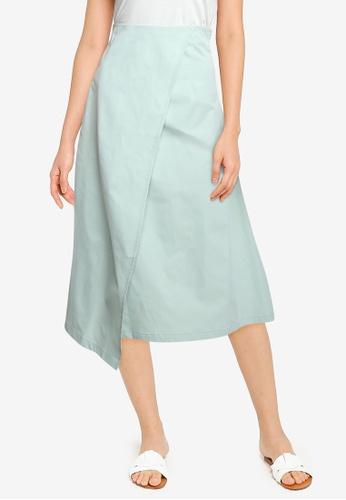ZALORA BASICS green High Waist Wrap Skirt C5239AA2627E7AGS_1