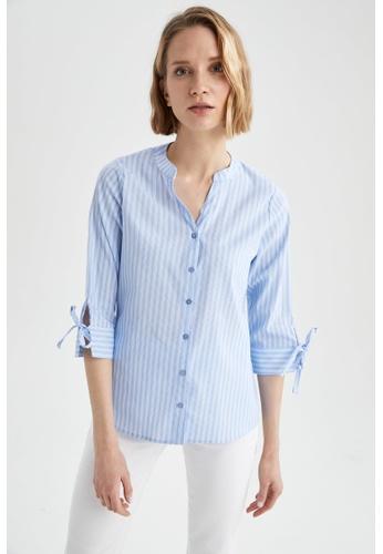 DeFacto blue Woman Woven Long Sleeve Shirt B5172AAF539F9EGS_1